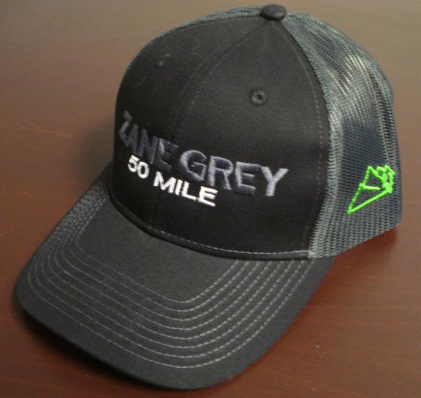 8b676316a Zane Grey 50 Mile Embroidered Trucker Hat - Black